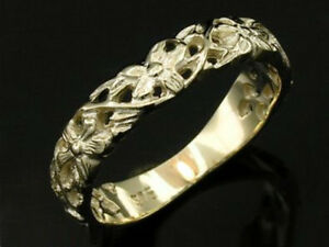 R057 Genuine 9ct Gold Flower Vine Scroll Wedding Band Friendship Ring in yr size