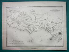 ITALY Between Rome & Naples Vesuvius - MAP from 1854