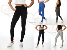 Womens Ladies Leggings Stretchy Plain Full Length Black + Colours UK Size 8 - 22