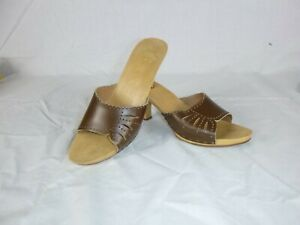 Vtg 70s 80s Candies Style Sandals Slides High Heel Brown Leather Size 9