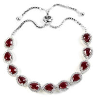 GENUINE BLOOD RED RUBY & WHITE CZ STERLING 925 SILVER BRACELET FREE SIZE