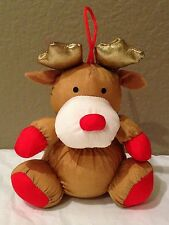 Holiday Christmas Ornaments STUFFINS FLUFFY Nylon Reindeer Gold W/Red 1993
