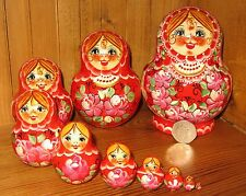 Russian HAND PAINTED Babushka nesting 10 doll RED Pink Matrioshka LEBEDEVA GIFT