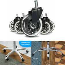 1set Of 5 Office Chair Caster Rubber Swivel 3 Inch Wheels Replacement Heavy Duty