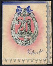 C1950's Illustrated 21st Birthday Card - Horse Shoe & Key