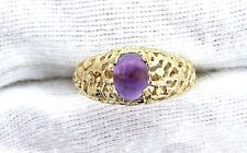 14Kt REAL Yellow Gold Nugget 9x7 Amethyst Oval Cabochon Cab Gemstone Ring Sz8.75