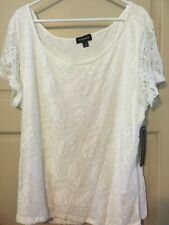 New White Top 3X/2X Career Lace Blouse Floral Sheer Sleeves Dressy Nice Plus *+*