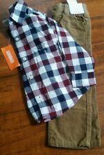Gymboree Boy's 2T Long sleeve Plaid Button up Brown Corduroy Pants NEW Tags