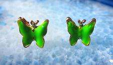 PENDIENTES AROS mariposa verde esmaltado bañado en Oro BUTTERFLY papillon