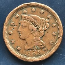1852 Large Cent Braided Hair One Cent 1c Better Grade #9147