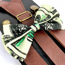 Suspender and Bow Tie Adults Brown Leather Money Formal Wear Accessories