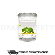 CALIFORNIA BEAR Glass Stash Nug Jar Airtight Smell-Proof 1/8 Medical Jar