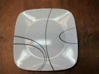 "Corelle SIMPLE LINES Square Dinner Plate 10 5/8"" White & Black 1 ea 15 available"