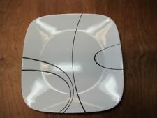 """Corelle SIMPLE LINES Square Dinner Plate 10 5/8"""" White & Black 1 ea 15 available"""