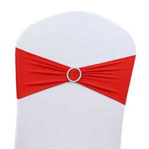 Spandex Stretch Wedding Chair Cover Sashes Bow Band Party Banquet Decor 10PCS