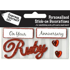 Ruby Anniversary Red Greeting Card Topper MIP Handmade Scrapbooking Craft