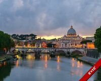 VATICAN AT DUSK ROME SANT ANGELO BRIDGE AT DUSK CANVAS GICLEE 8X10 ART PRINT