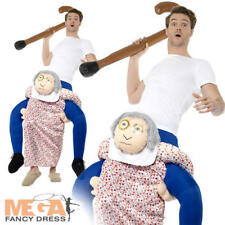 Piggyback Grandma Mens Ladies Fancy Dress Granny Old Ride On Fun Adults Costume