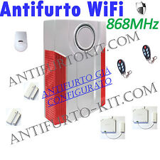 Kit Antifurto 868 Mhz Casa Allarme Garage Sirena Wireless senza Fili No Gsm WiFi