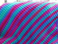 Handmade Crochet Blanket Throw Afghan - vibrant blue, green, purple, magenta