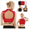 Sexy Women's Shimmer Sequins Mock Neck Keyhole Dance Crop Tops Vest Dancewear