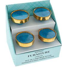 Set di 4 Agata Azzurro Di Marca Stile Blue & Gold Lusso Porta Pull Maniglie Manopole
