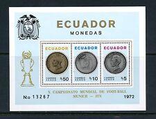Ecuador 1974 Coins Football Soccer Overprinted Perf sheet Mnh J451