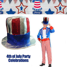 Uncle Sam Top Hat USA 4th of July Celebration Costume Sequin American Flag Party