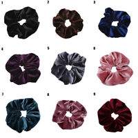 Women Soft Velvet Hair Band Elastic Pure Color Hair Rope Ponytail Tie Scrunchies
