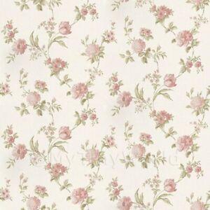Puppenhaus Miniatur Gemischte Rosa Blumen Auf Blass Weiß Tapete