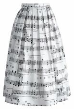 WOMENS DANCE WITH MUSIC NOTES WHITE SKIRT MIDI BLACK LONG CHIC PLEATED CLASSY