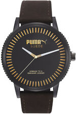 PUMA Watch PU104101005 Suede Unisex Colour Black Wristwatch