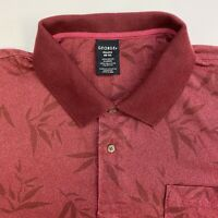 George Polo Shirt Mens 2XL Red Leaf Floral Short Sleeve Casual Golf