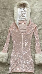 Vintage J Valentine Pink Mini Dress Hood Velvet Faux Fur Trim Zip