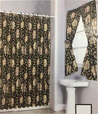 Shower Curtain Drapes + Bathroom Window Set w/ Liner+Rings  Brown/Beige  Flower