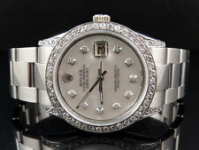 Mens Stainless Steel Rolex Datejust New Oyster 36 MM Mother Pearl Watch 3 Ct