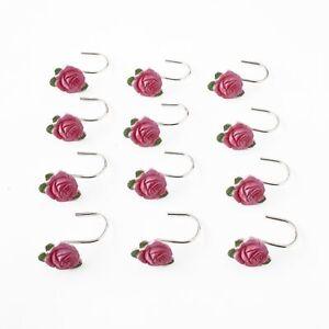 Vintage Rose Shower Curtain Hooks with Floral Design - Set of 12