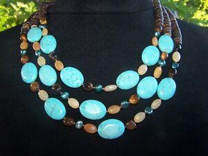 Handmade Southwestern Turquoise Multi Stone Beaded Strand Statement Necklace