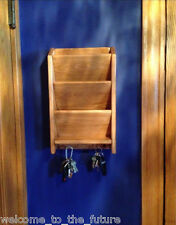 """18"""" Mail Letter Rack Handcrafted Wood Organizer Key Holder Wall or Desk lt Stain"""