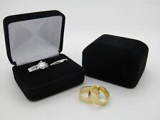 Bride & Groom Luxury Black Velvet Double Wedding Ring Bearer Box