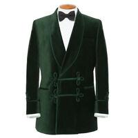 Men Green Smoking Jacket Blazer Coats Elegant Luxury Designer Party Wear UK
