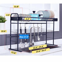 Over The Sink Dish Rack Cutlery Drying Drainer Kitchen Storage Stainless Shelf