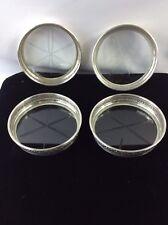 Vintage Sterling Silver Marked Birks Etched Star Coasters Set Of 4