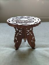 More details for vintage / antique handcarved indian  small table with bovine inlay detachable