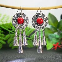 Boho Ethnic 925 Silver Red Turquoise Hook Dangle Women Wedding Jewelry Earrings