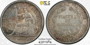 1898-A Silver French Indo-China Piastre PCGS XF40 Toned Mid-Grade Beauty!