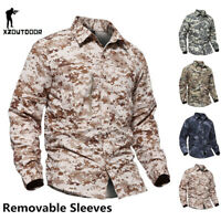 Mens Tactical Combat Shirt Army Military Long Sleeve Casual Shirts Camo Hiking
