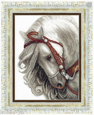 EMBROIDERY KIT COUNTED CROSS STITCH KIT CRYSTAL ART WHITE HORSE ANIMALS BT-083