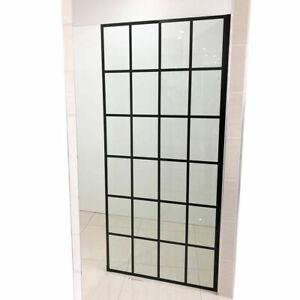 900*2000mm Single Panel Shower Glass Matt Black Lattice Frame for Bathroom