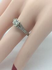 Antique Reproduction Filigree 14K White Gold Diamond Engagement Ring 3/4 Carat